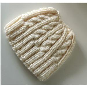 new Handmade Messy Bun Beanie Hat creme OS